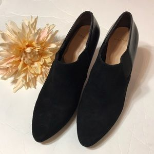 Cole Haan Black Sued Leather Ankle Shoes